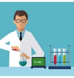 medical scientist experiment laboratory chemistry vector image