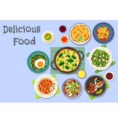 Tasty breakfast dishes icon for menu design vector image vector image