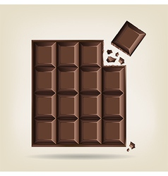 Unwrapped bar of chocolate vector image vector image