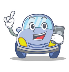 with phone cute car character cartoon vector image vector image