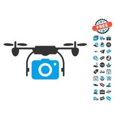 Camera Drone Icon With Free Bonus vector image vector image