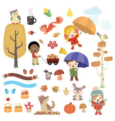 cute autumn children and animals design set vector image vector image