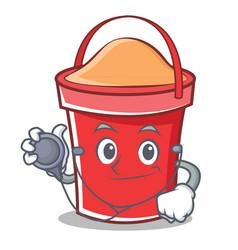 doctor bucket character cartoon style vector image