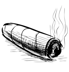 Lighting cigar sketch vector