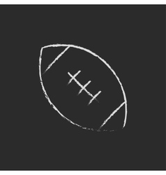Rugby football ball icon drawn in chalk vector image vector image