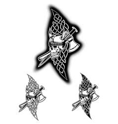 skull in helmet and celtic patterns vector image vector image