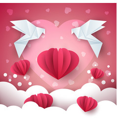 valentine day paper heart vector image