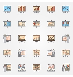 Business chart presentation icons vector image vector image