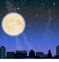 City skyline at night buildings and big moon vector image