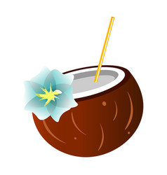 coconut cocktail isolated on a white background vector image vector image