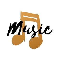 Hand-drawn gold music note on white background for vector image vector image