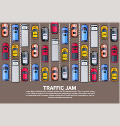 highway traffic jam top above view with road full vector image