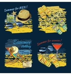 set background summer with lettering texts vector image vector image