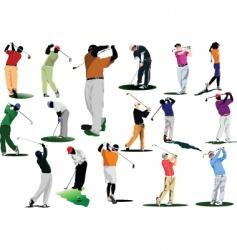 sixteen golfers vector image vector image