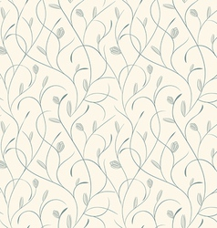 Clear floral blue on biege seamless pattern vector