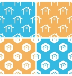 Cottage pattern set colored vector image