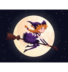 Cute redhead witch flying on a broom and smiling vector image