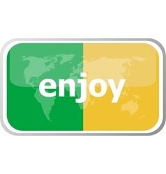 Enjoy Flat web button icon World map earth icon vector image vector image