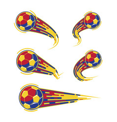 football red yellow blue and soccer symbols set vector image