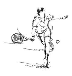 Hand sketch tennis player vector image