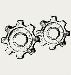 Handwritten gears vector image vector image
