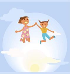 happy little girls vector image
