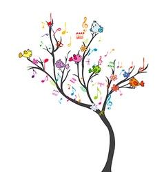 Happy tree with birds vector image vector image