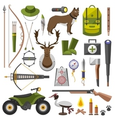 Hunting equipment kit rifle knife hat suit vector image