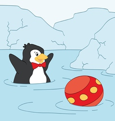 Penguin Playing vector image vector image