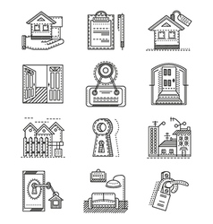 Rent real estate line icons vector image