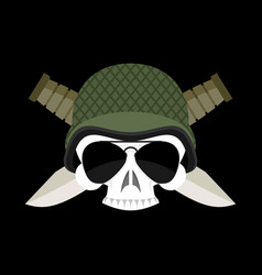 skull in helmet military emblem army cap and vector image