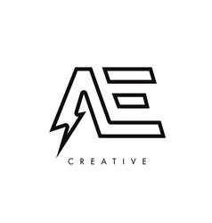 Ae letter logo design with lighting thunder bolt vector