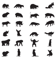african wild animals silhouettes set vector image