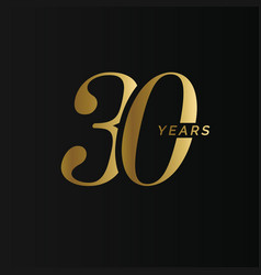Anniversary company logo 30 years thirty gold vector