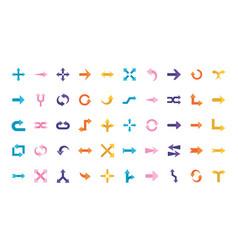 Arrows flat style 50 icon set design vector