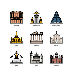 asian cities and counties landmarks icons set 3 vector image