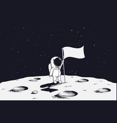 Astronaut on moon with flag vector