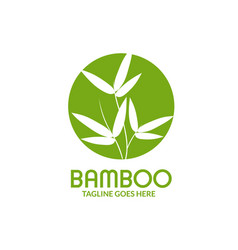 Bamboo leaves with circle logo vector