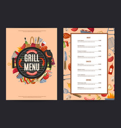 Barbecue or grill vertical menu template vector
