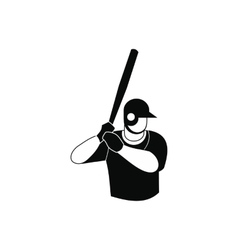 Baseball player black simple icon vector