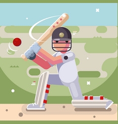 batting sport game cricket batsman baseball bat vector image