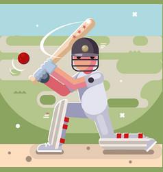 Batting sport game cricket batsman baseball bat vector