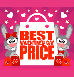 best valentines day price card with rabbits vector image