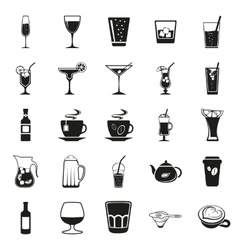 beverages simple black icons set vector image