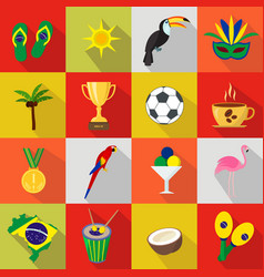 Brazil summer set of flat icons cartoon and vector