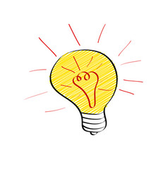 Bright light bulb in doodle style isolated on vector