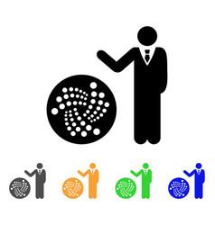 Businessman show iota icon vector