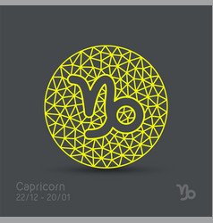 Capricorn zodiac sign in circular frame vector