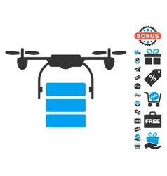 Cargo Drone Icon With Free Bonus vector image