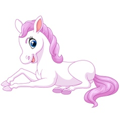 Cartoon funny beautiful pony horse sitting isolate vector